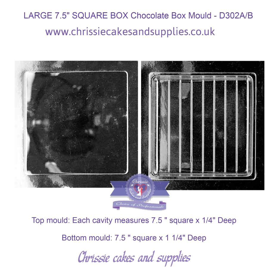 LARGE 7.5 inches SQUARE BOX Chocolate Box Mould - D302A/B