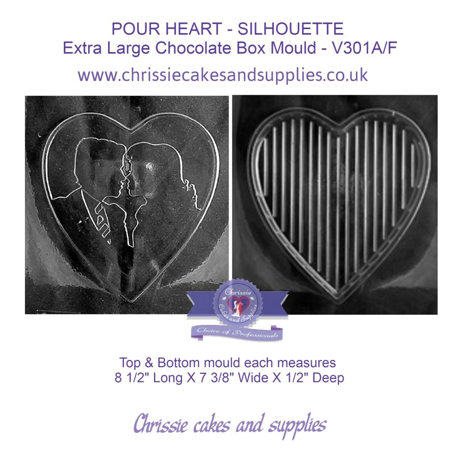 POUR HEART - SILHOUETTE  Extra Large Chocolate Box Mould - V301A/F