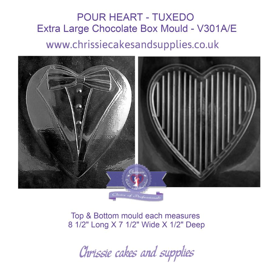 POUR HEART - TUXEDO  Extra Large Chocolate Box Mould - V301A/E