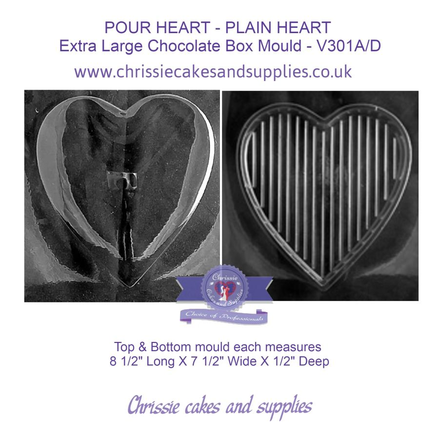 POUR HEART - PLAIN HEART  Extra Large Chocolate Box Mould - V301A/D