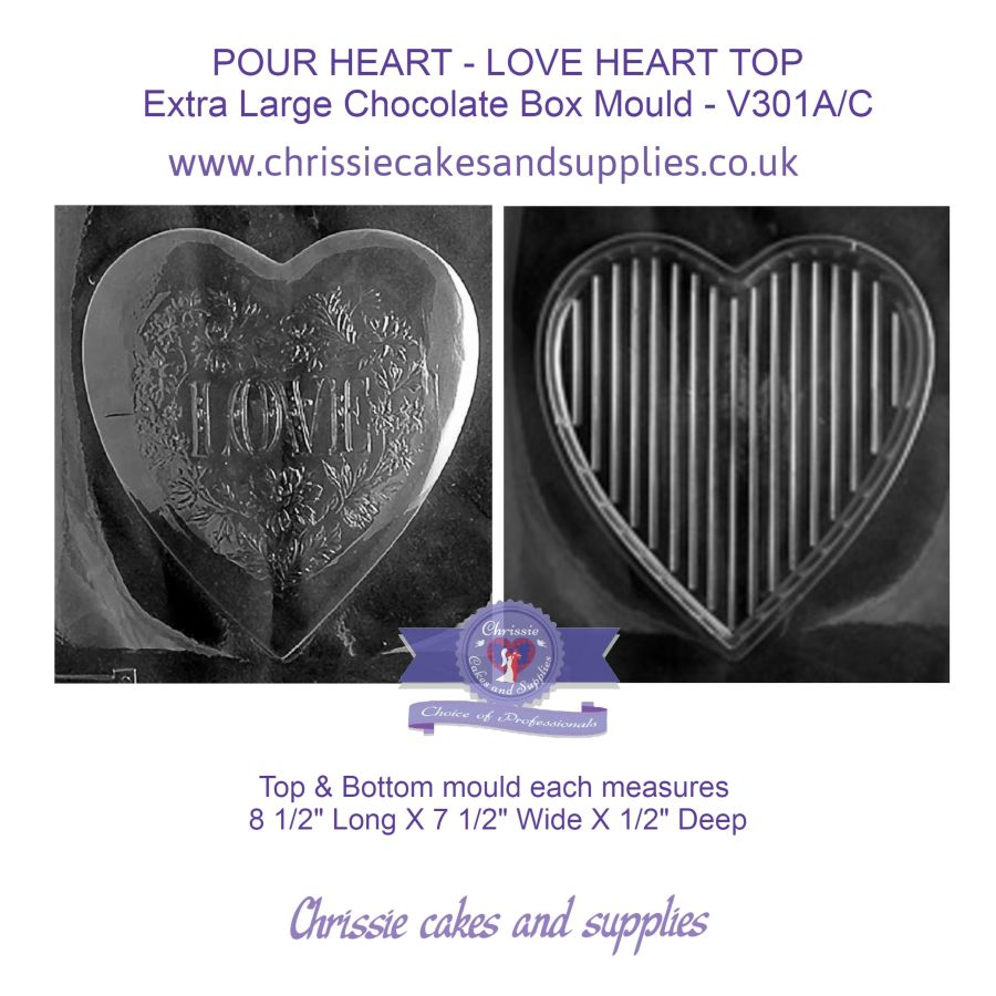 POUR HEART - LOVE HEART TOP Extra Large Chocolate Box Mould - V301A/C