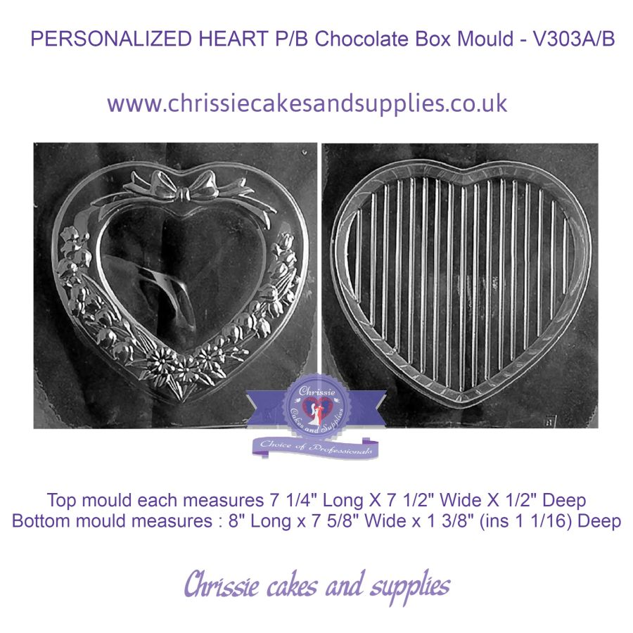 PERSONALIZED HEART Pour Box Chocolate Box Mould - V303A/B