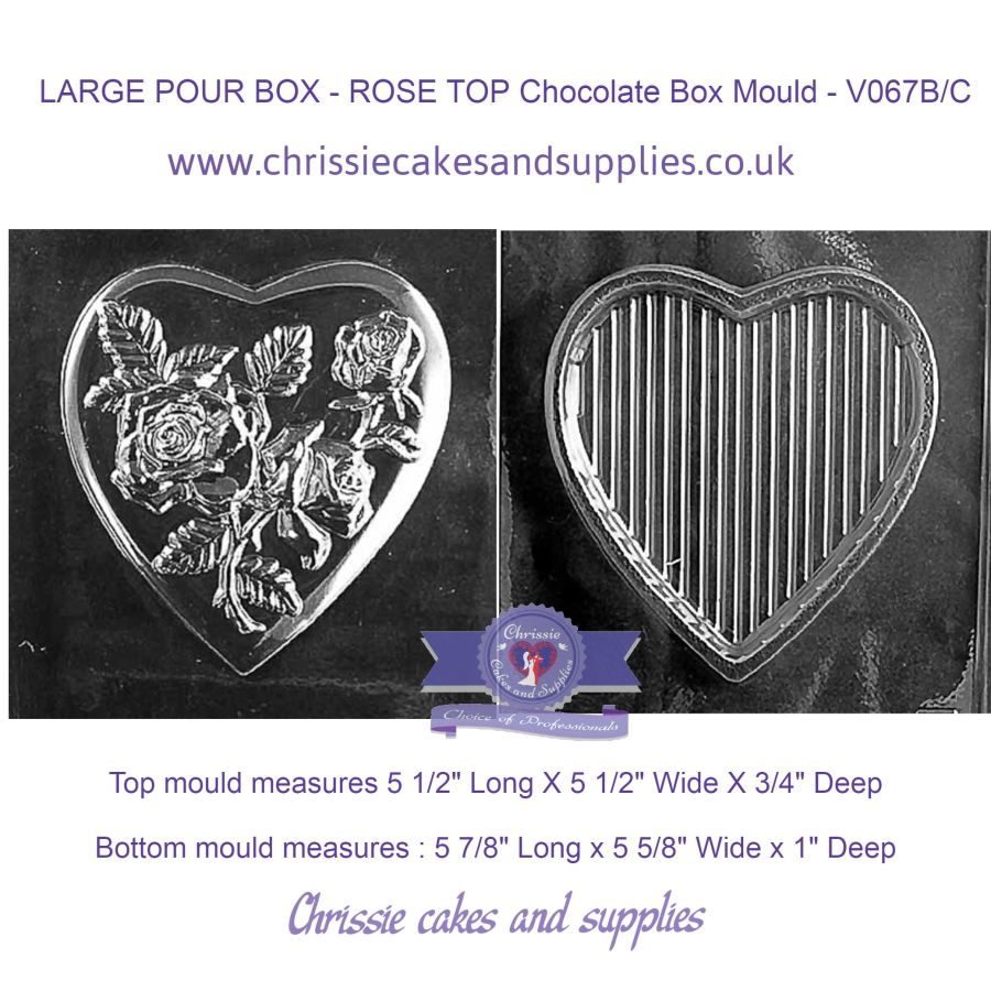 LARGE POUR BOX - ROSE TOP Chocolate Box Mould - V067B/C