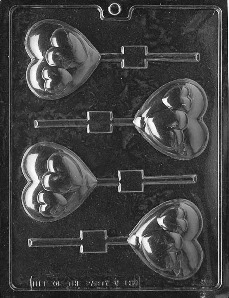 HEARTS ON HEART LOLLY Chocolate Mould V138