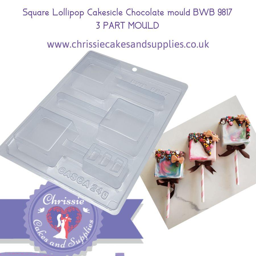 Square Lollipop Cakesicle Chocolate mould BWB 9817 3 PART MOULD