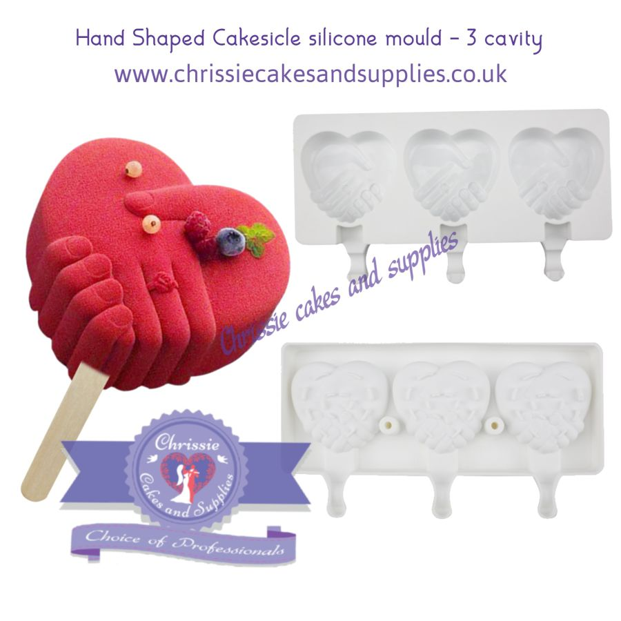 Hand Shaped Heart Cakesicle Silicone Mould - 3 cavity