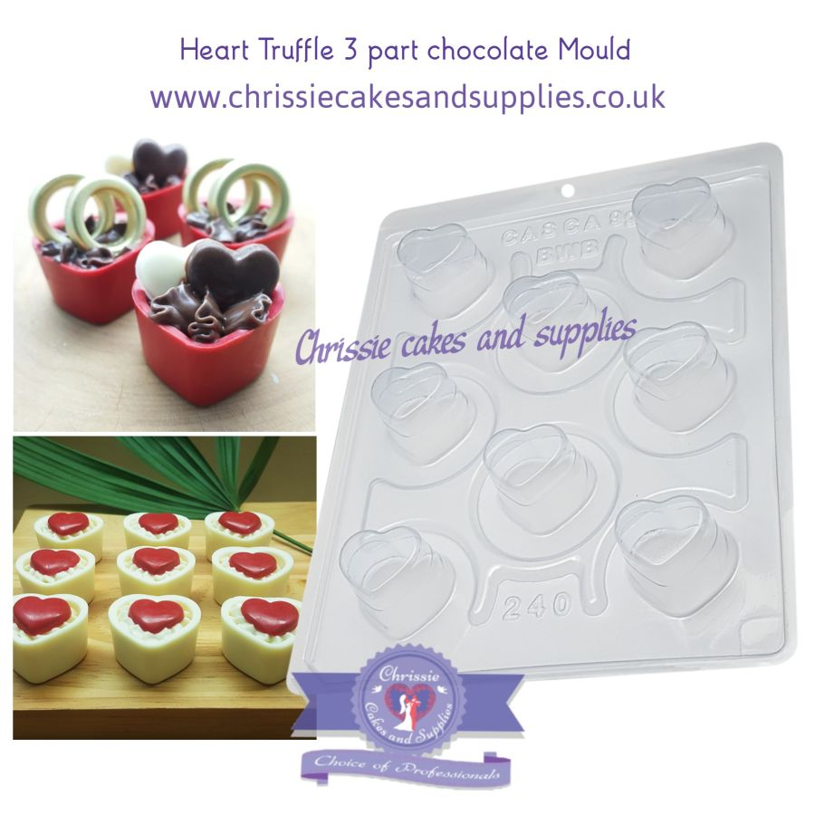 Heart Truffle 3 part chocolate Mould BWB 240