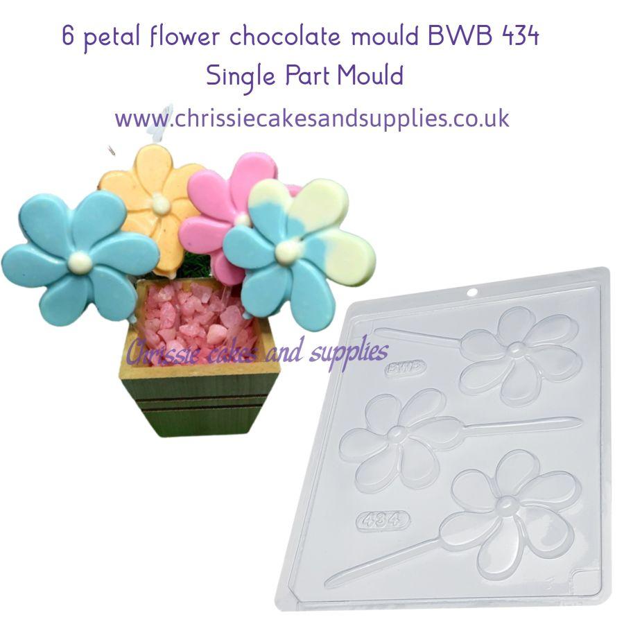 6 petal flower chocolate mould BWB 434