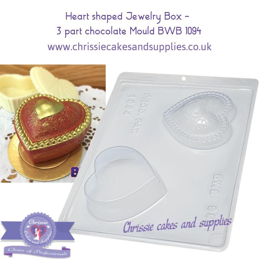 Heart shaped Jewelry Box -  3 part chocolate Mould BWB 1094