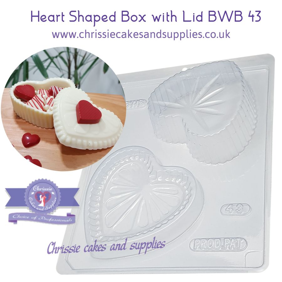 Heart Box with Lid - 3 Part Chocolate Mould - Bwb 43