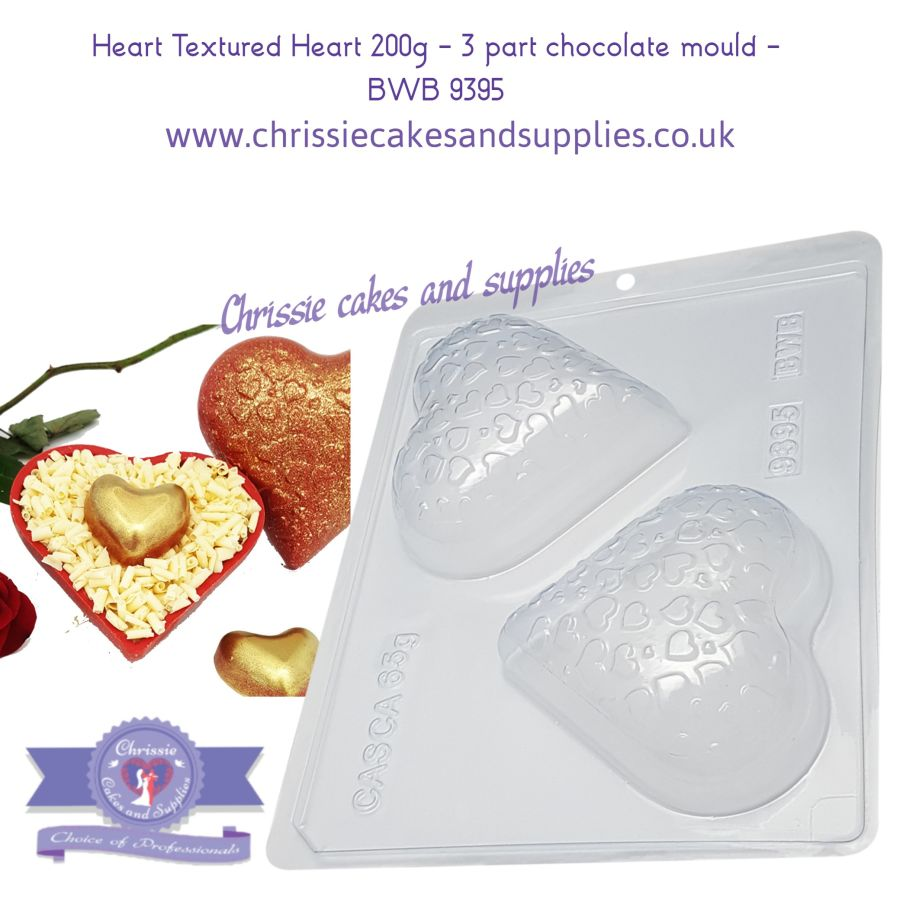 Heart Textured Heart 200g - 3 part chocolate mould - BWB 9395
