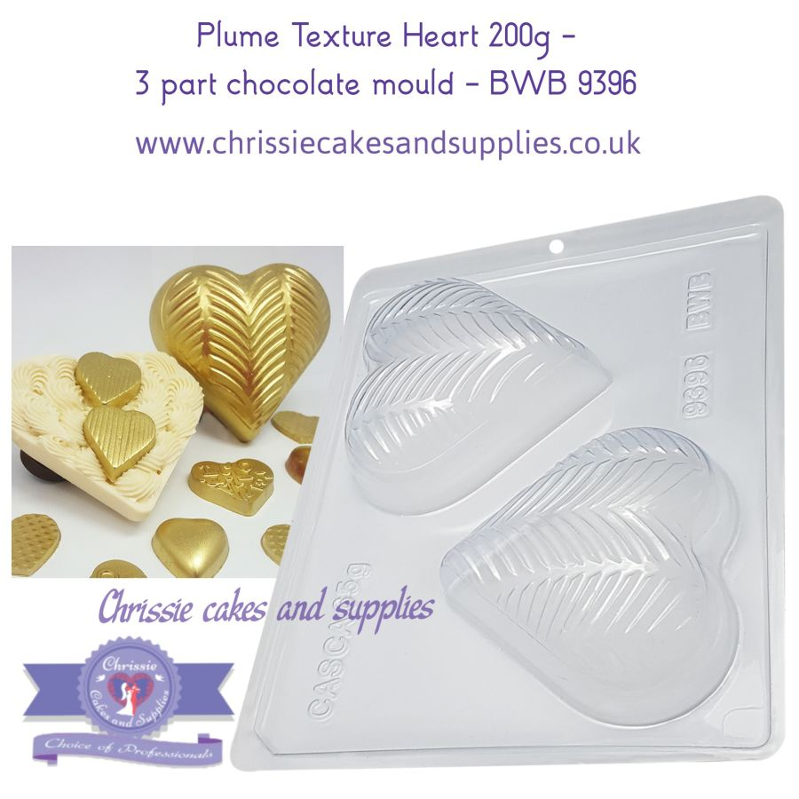 Plume Texture Heart 200g -  3 part chocolate mould - BWB 9396