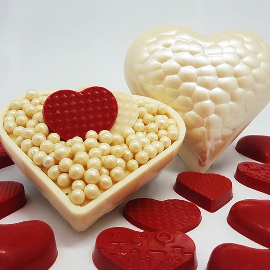 Gouge Textured Heart 3 part Chocolate Mould - BWB 9397