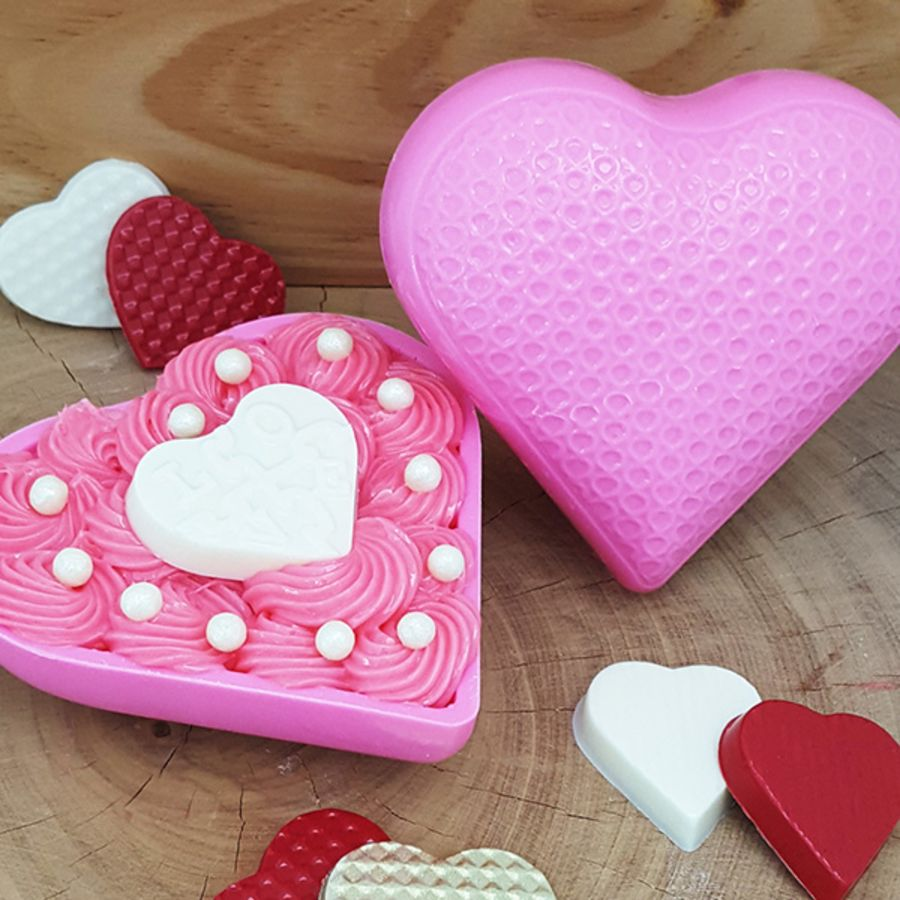 Chocolate Drops Textured Heart Mould 200g BWB 9398 - 3 part chocolate mould