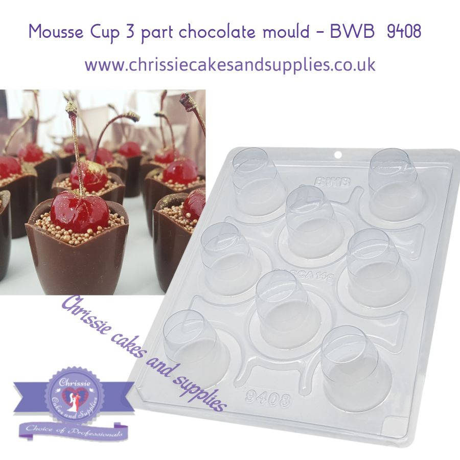 Mousse Cup 30g - 3 part chocolate mould - BWB  9408