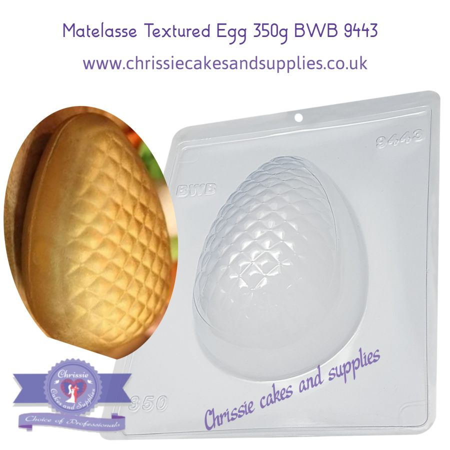 Matelasse Textured Egg 350g - 3 part chocolate Mould BWB 9443