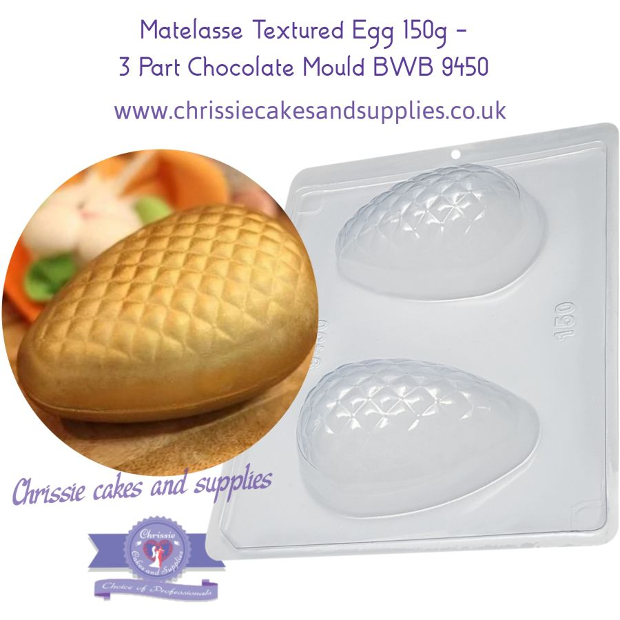 Matelasse Textured Egg 150g - 3 Part Chocolate Mould - BWB 9450
