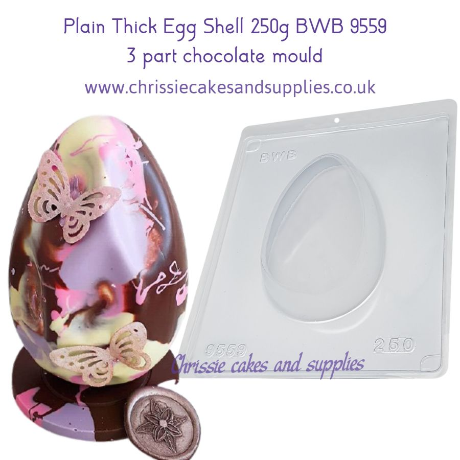 Plain Thick Egg Shell 250g BWB 9559 3 part chocolate mould
