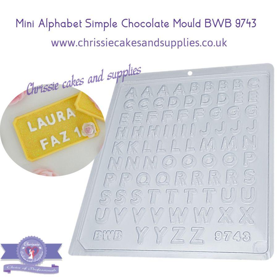 Mini Alphabet Simple Chocolate mould BWB 9743