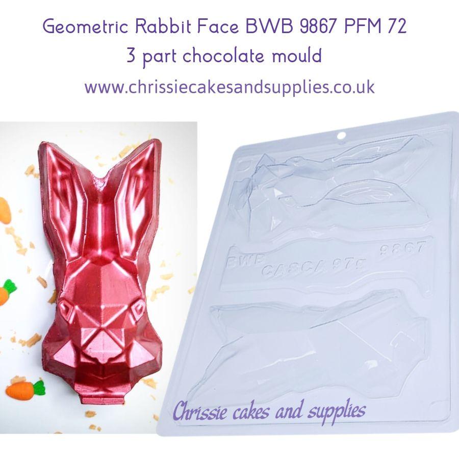 Geometric Rabbit Face BWB 9867 PFM 72 - 3 part chocolate Mould
