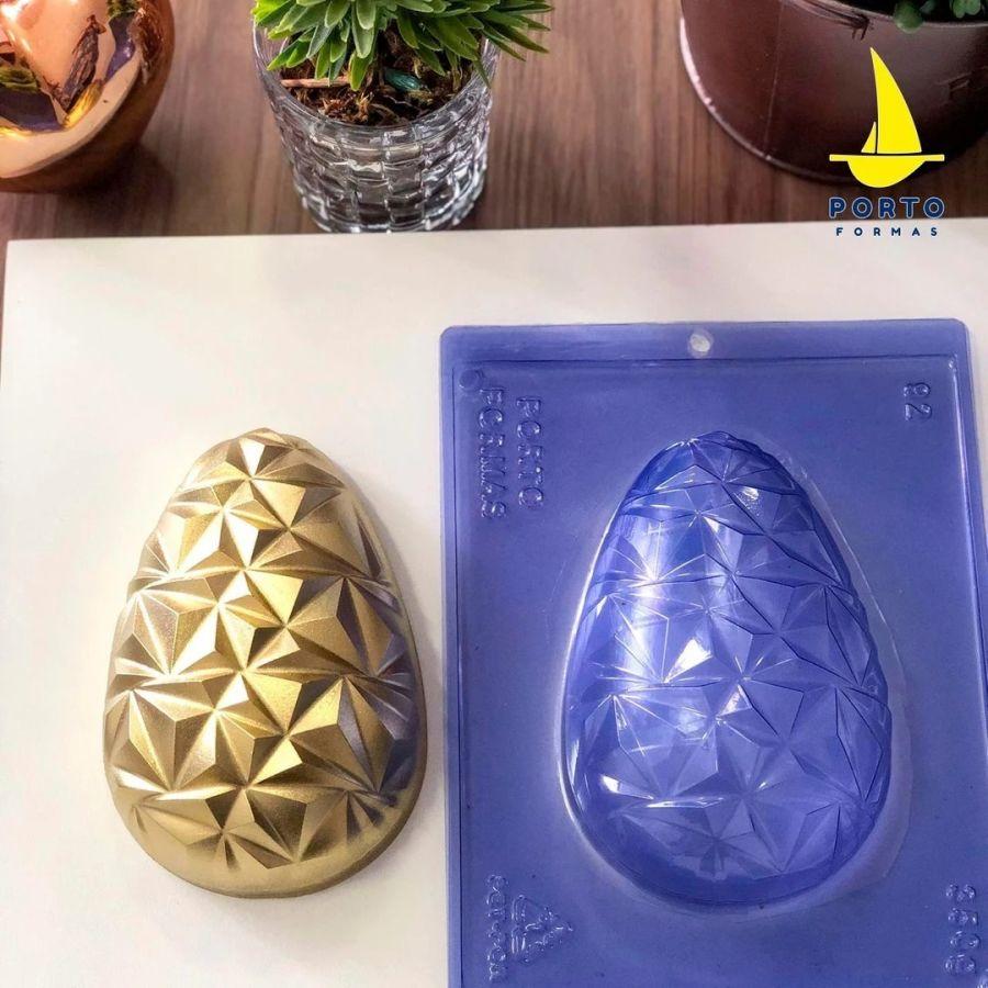 Geometric 3D Easter Egg pfm92 - 3 part chocolate mould
