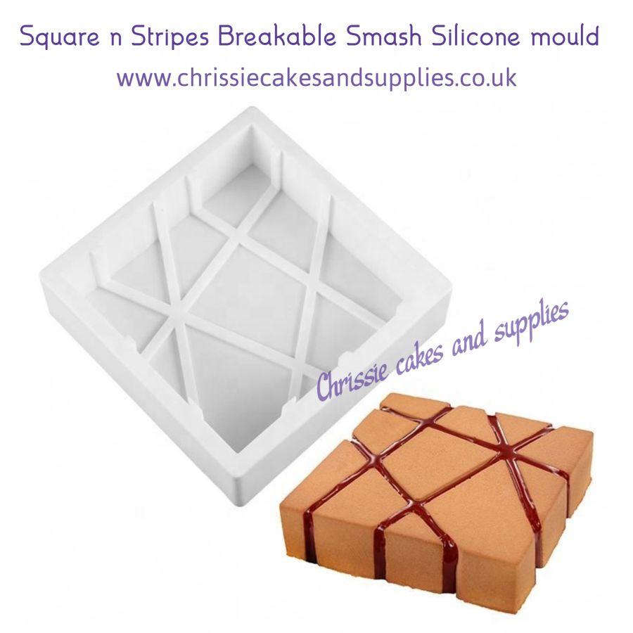 Square 'n' Diagonal Stripes Breakable Smash Silicone mould