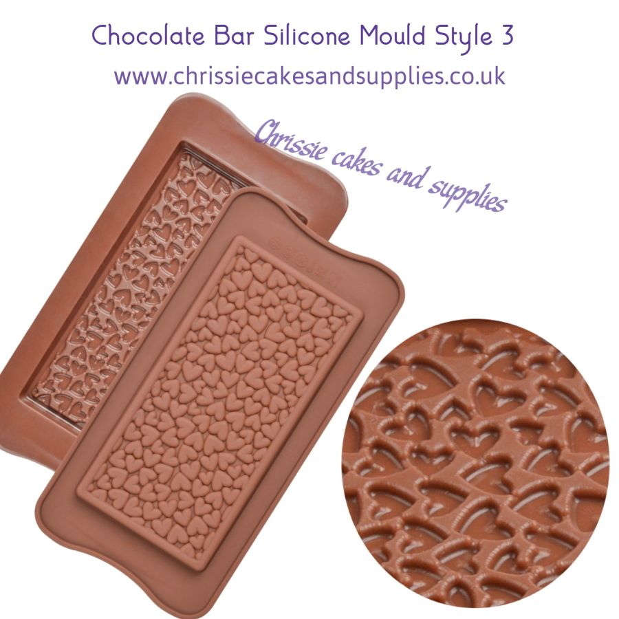Heart textured Chocolate Bar Silicone Mould Style 3
