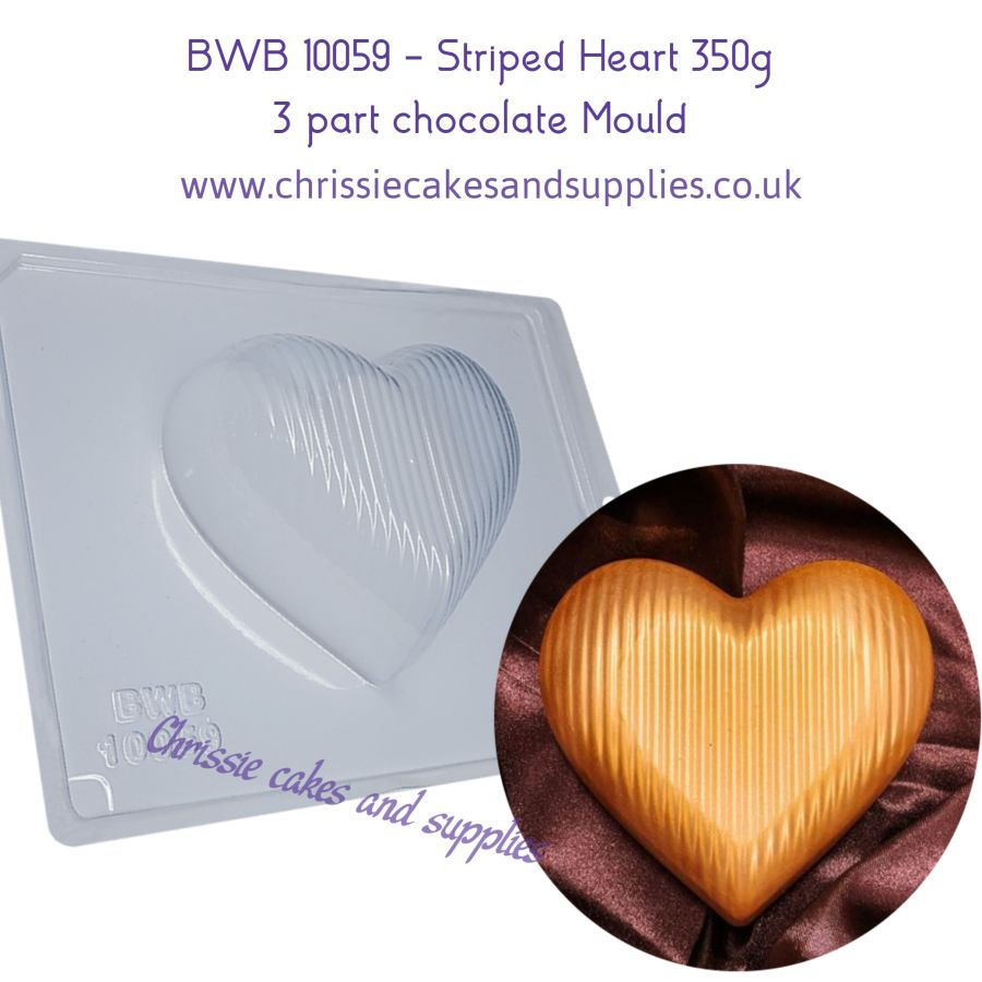 BWB 10059 - Striped Heart 350g 3 part chocolate mould