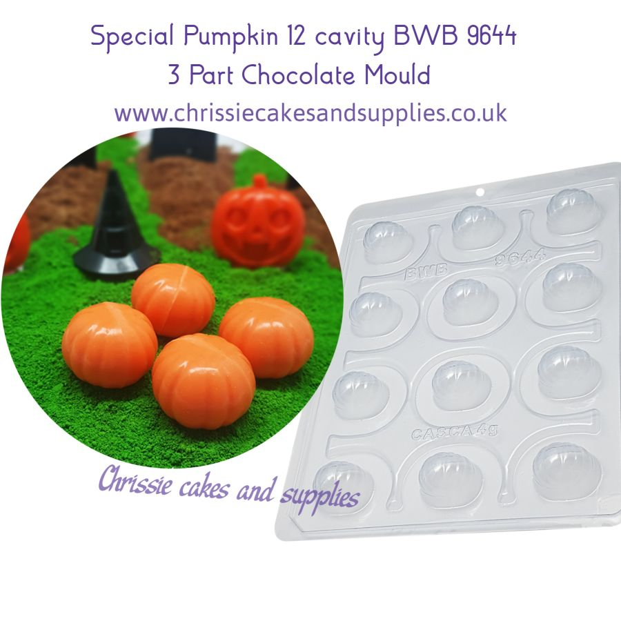 Special Pumpkin 12 cavity 3 Part Chocolate Mould BWB 9644