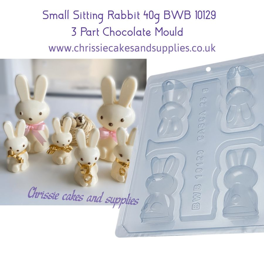 Small Sitting Rabbit 40g 3 Part Chocolate Mould BWB 10129