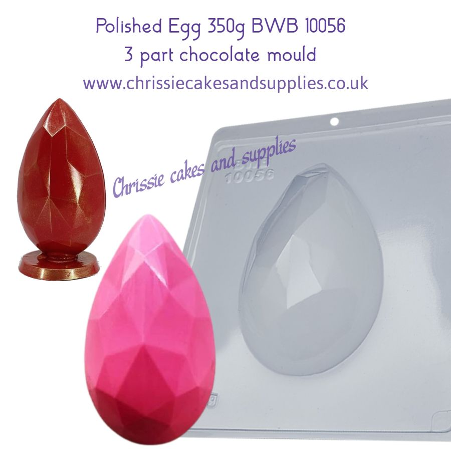 Polished Egg 350g 3 part chocolate mould BWB 10056