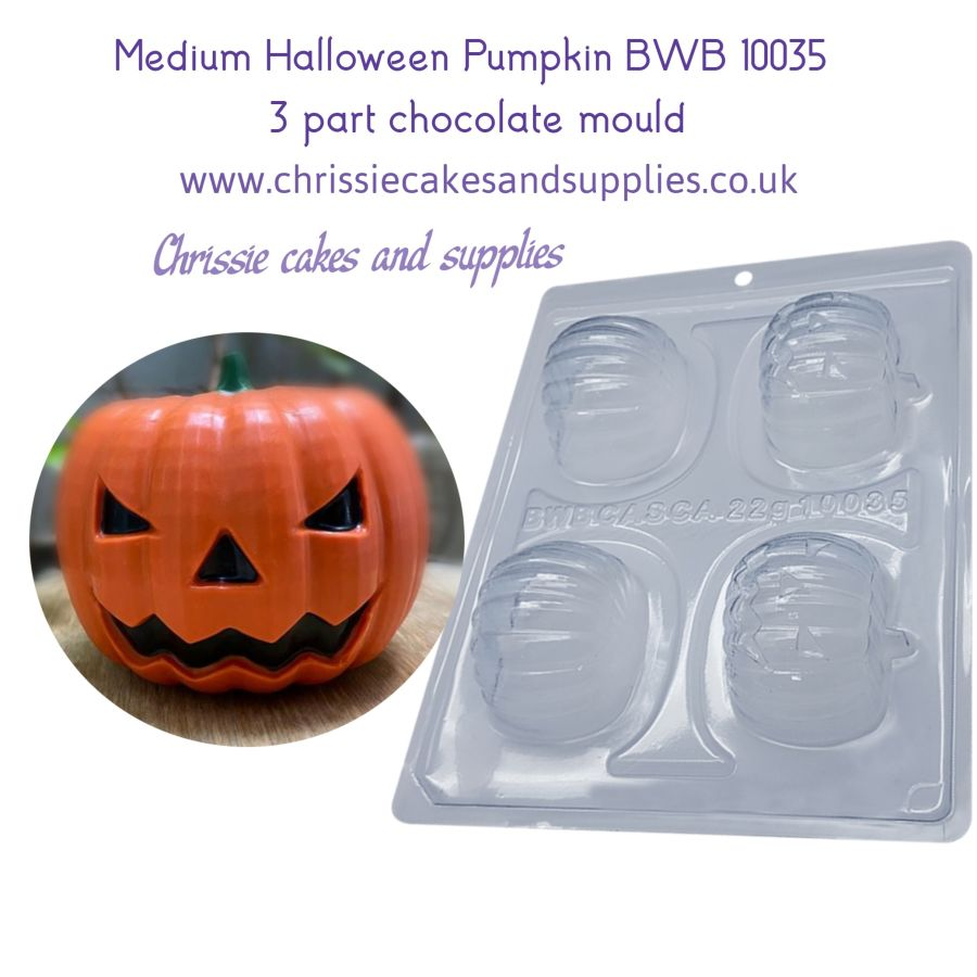 Medium Halloween Pumpkin 3 part chocolate Mould BWB 10035