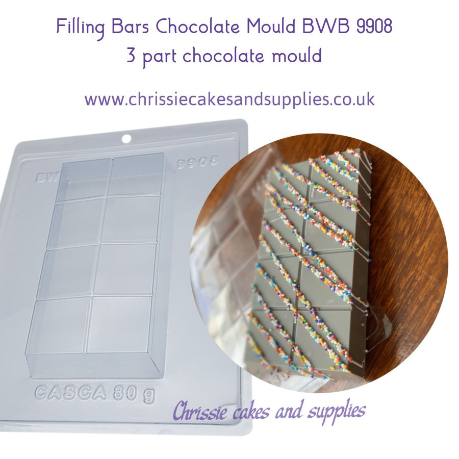 Filling Bars 350g Chocolate Mould BWB 9908 - 3 Part Chocolate Mould