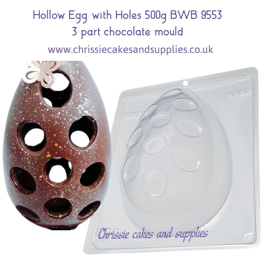 Hollow Egg with Holes 500g 3 part Chocolate Mould BWB 9553