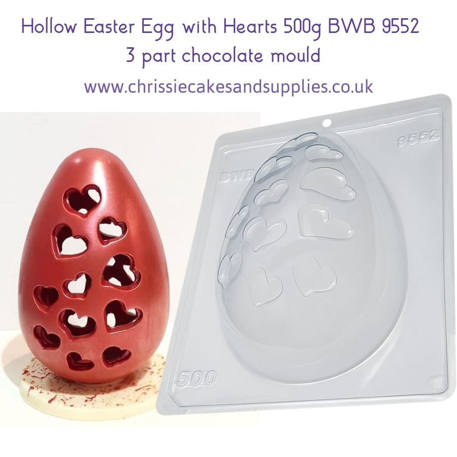 Hollow Easter Egg with Hearts 500g 3 part chocolate mould BWB 9552