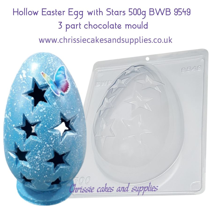 Hollow Easter Egg with Stars 500g BWB 9549 - 3 Part Chocolate Mould