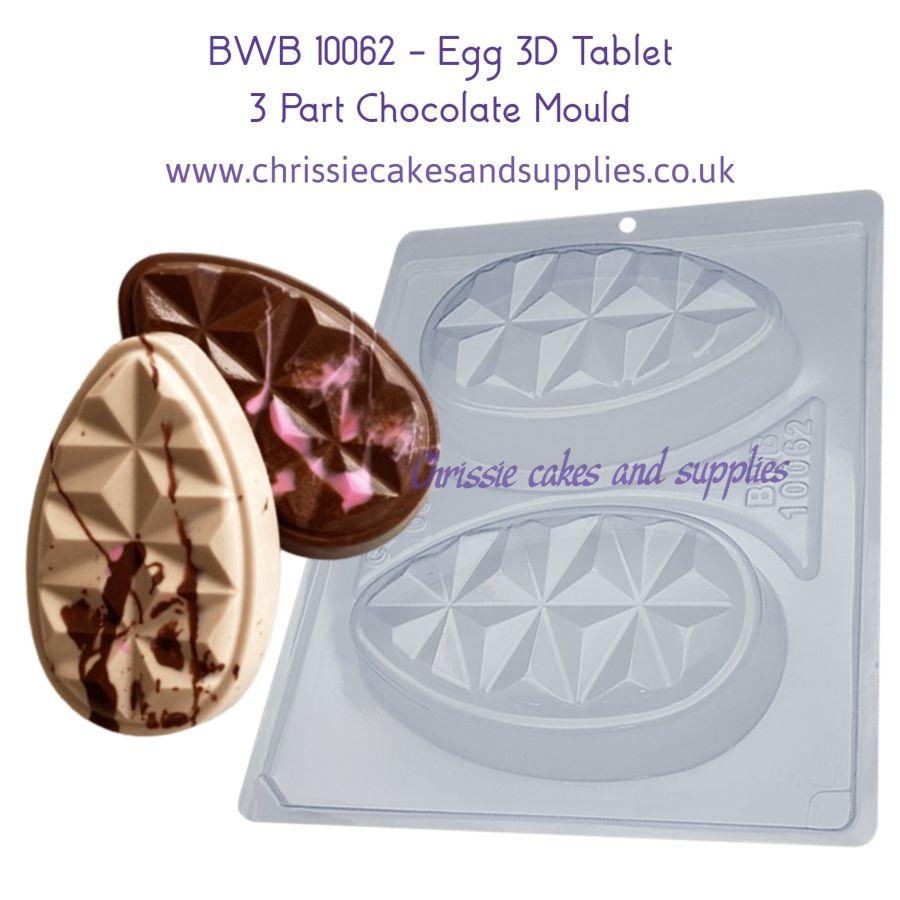 BWB 10062 - Egg 3D Tablet 200g 3 Part Chocolate Mould