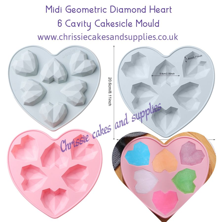 Midi Geometric Diamond Heart 6 Cavity Cakesicle SIlicone Mould