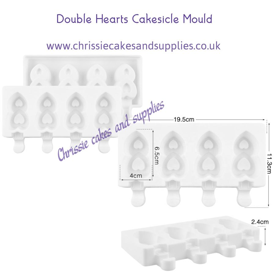 Double Hearts Cakesicle Mould - 4 Cavity