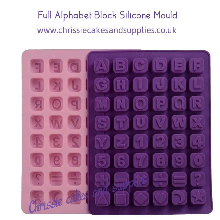 Full Alphabet and Symbols Cube Block Silicone Mould