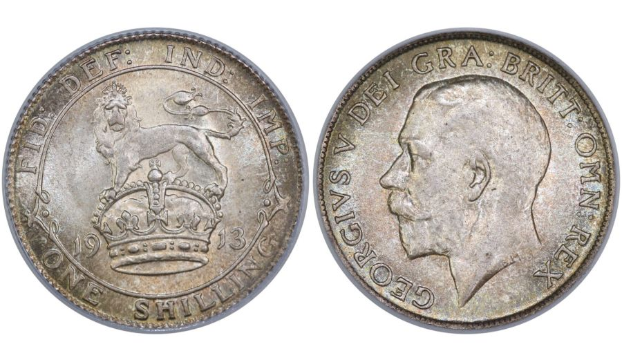 1913 Shilling, CGS 80(MS 64), Choice UNC, George V, ESC 1423, Scarce, UIN 28307