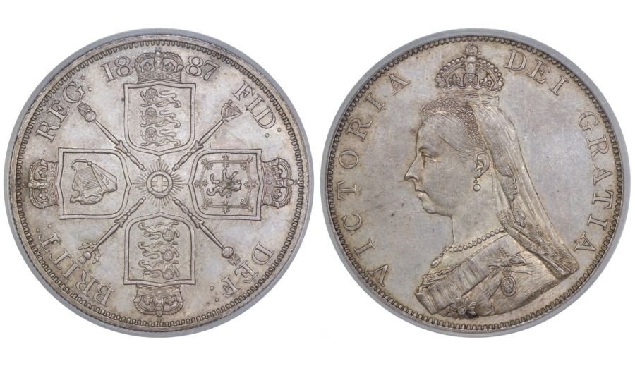 I887 Double Florin, Roman I, CGS 78(MS 63-64), UNC, Victoria, ESC 394, UIN 14873