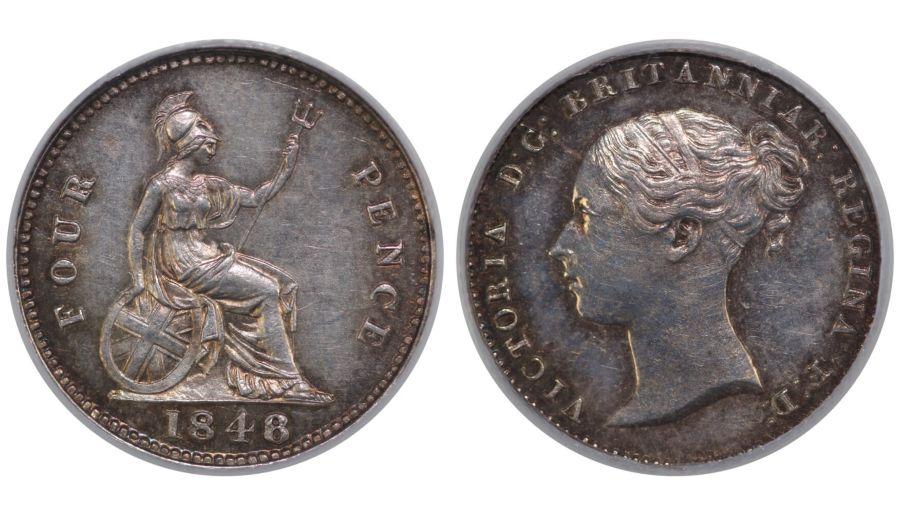 1848/6 Groat, CGS EF 65(MS 60-61), Victoria, ESC 1944, R2, UIN 16422