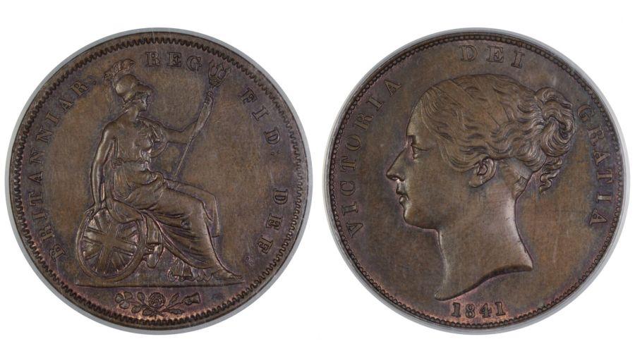 1841 Penny, no colon after REG, gEF, CGS 65, Peck 1484