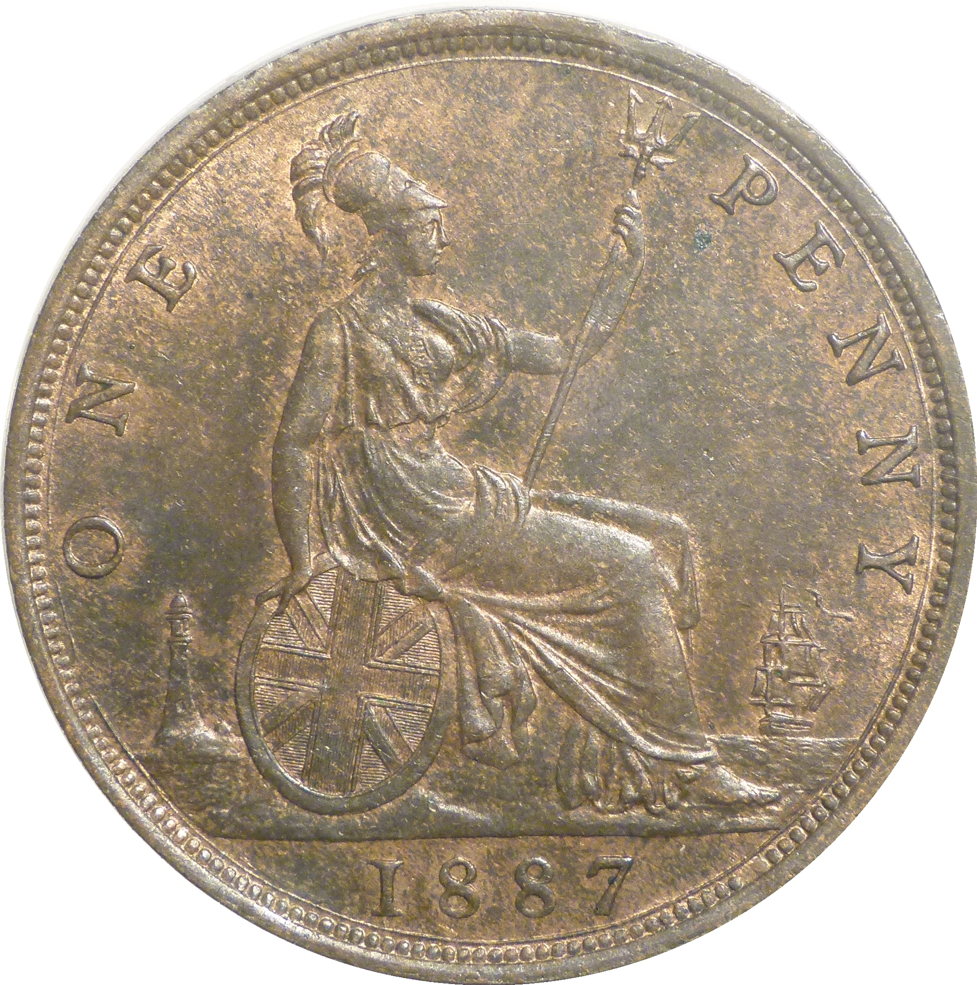 1887 Penny, UNC or near so, CGS 75(MS 62-63), Victoria, Freeman 125, UIN 40472