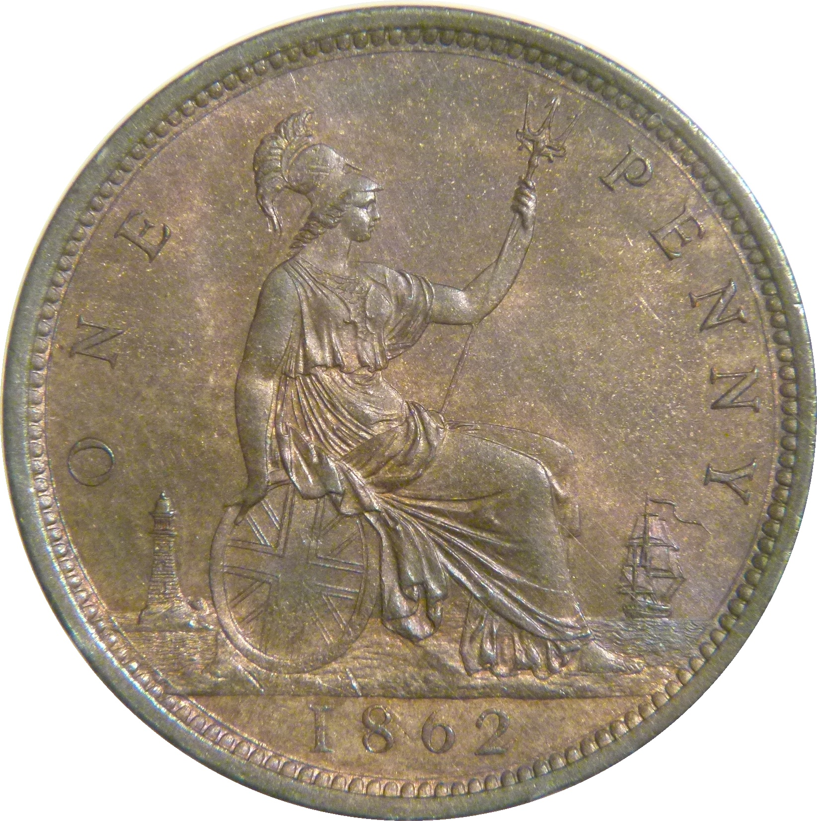 1862 Penny, UNC, CGS 78(MS 63-64), Victoria, Freeman 39, Dies 6+G, UIN 29979 at auction on Facebook