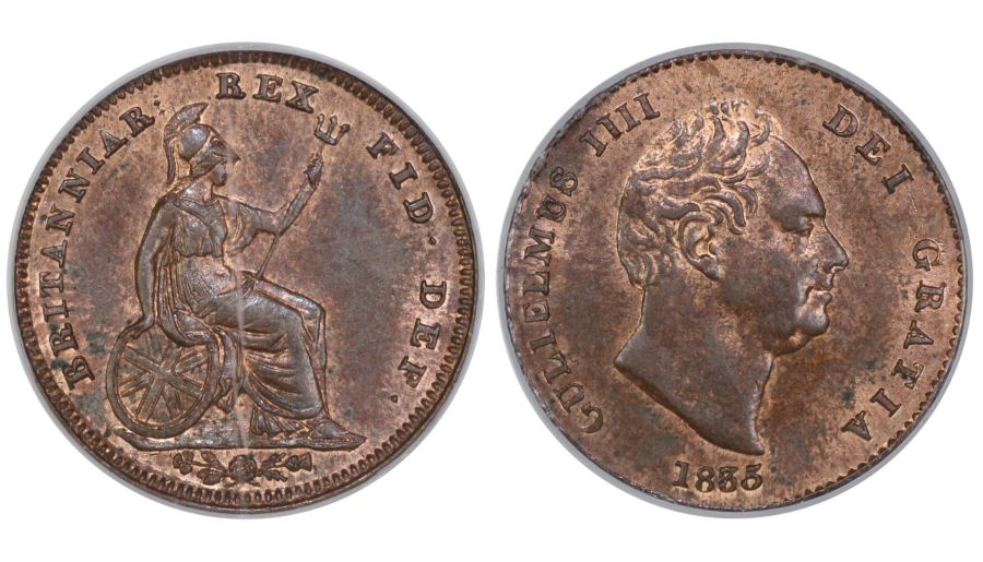 1835 Third Farthing, CGS 80(MS 64), Choice UNC, William IV, Peck 1477, UIN 28551
