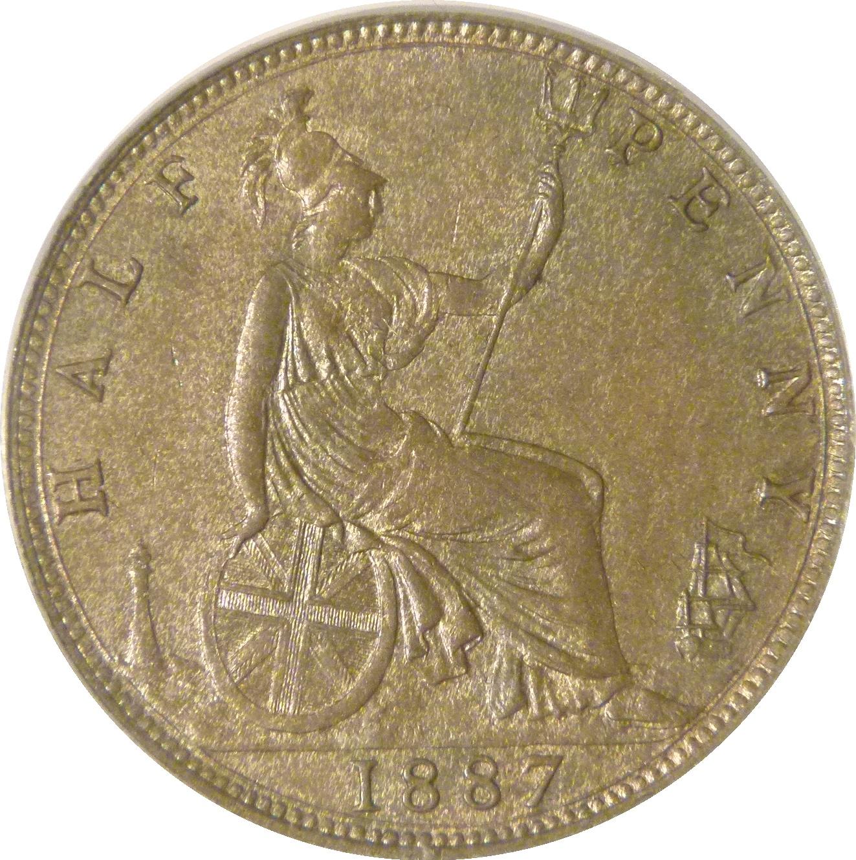 1887 Halfpenny, CGS AU 75(MS62-63), Victoria, Dies 17+S, Freeman 339, UIN 17478, Sold via Facebook auction