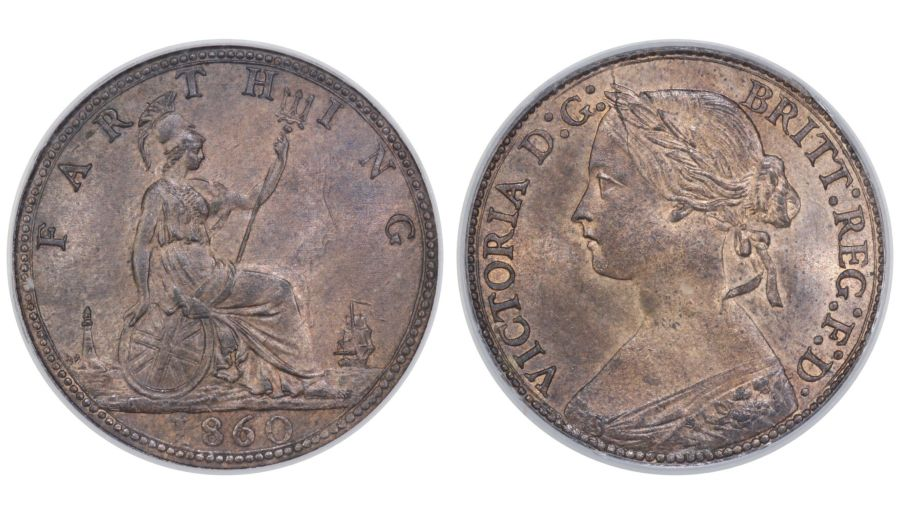1860 Farthing, CGS 82(MS64-65), Victoria, Freeman 496, Beaded border, UIN 18607