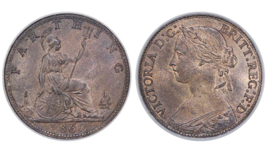 1860 Farthing, CGS 82(MS64-65), Victoria, Freeman 496, Beaded border, UIN 18607